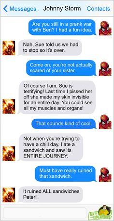 Marvel Jokes, Marvel Funny, Marvel Dc Comics, Marvel Heroes, Funny Comics, Marvel Avengers, Superhero Texts, Comic Text, Superman And Spiderman