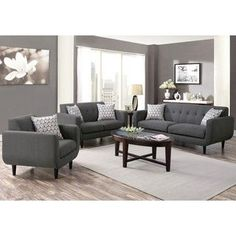 Mid-century Modern Design Grey Living Room Collection | Overstock.com Shopping - The Best Deals on Living Room Sets