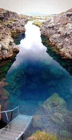 Silfra, Iceland - The clear blue water of the fissure between the Eurasian and North American continental plates