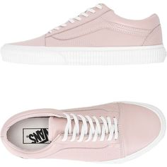 Vans Sneakers (390 PEN) ❤ liked on Polyvore featuring shoes, sneakers, light pink, vans trainers, light pink sneakers, flat sneakers, genuine leather shoes and leather flat shoes