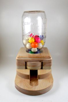 Gumball dispenser wooden candy machine by ImpulsiveCreativity