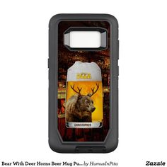 Bear With Deer Horns Beer Mug Pub Owner Cool Funny OtterBox Defender Samsung Galaxy S8 Case