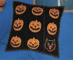 New Bethany Lowe Halloween Jack-o-Lanterns & Black Cat Pillow, Retired #BethanyLowe