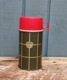 Vintage Plaid Thermos - Camping Thermos - Travel Thermos - Christmsas Decor by theindustrycottage on Etsy