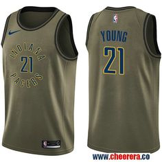 Men s Nike Pacers  21 Thaddeus Young Green Salute to Service NBA Swingman  Jersey 5338d0f20