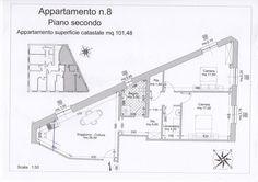 App. N°8 - Soggiorno con angolo cottura, disimpegno, due camere, bagno, locale lavanderia, ripostiglio. Comune di Campiglia Marittima (LI)