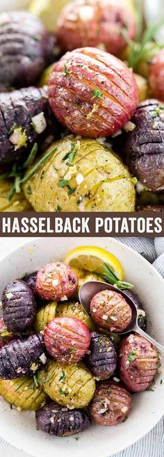 Hasselback potatoes roasted until crisp and topped with a tangy lemon garlic sauce. A flavorful and wholesome side dish bursting with fresh herbs and seasonings.  via @foodiegavin @naturesintenttv #AD