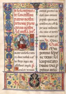Initial 'G' with San Petronio, border. Stephen A. Schwarzman Building / Spencer Collection.