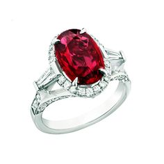 Fabergé Devotion 4.02 carat ruby ring in platinum with diamonds (=)
