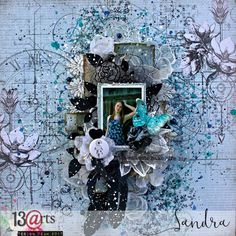 a mixed media layout by Sandra Bernard for 13arts