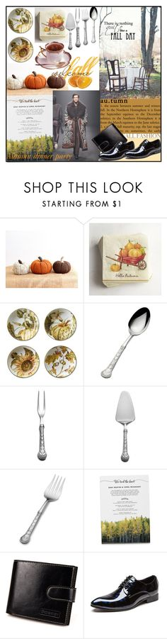 """AUTUMN DINNER PARTY"" by din-sesantadue ❤ liked on Polyvore featuring Pier 1 Imports, Williams-Sonoma, Wallace, Reception, men's fashion and menswear"