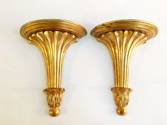 Vintage gold wooden carved Italian wall sconces  PKL THE CELLAR
