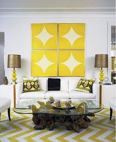 Awesome Wall Pics accented with Yellow Chevron rug!