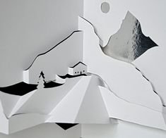 Out of a single blank sheet of paper an entire Alpine landscape will emerge. Experiment with different paper and backgrounds (the pop-up pictured here has a black background on one side, and the other is covered with aluminum foil). With … Continue reading → Koop