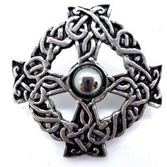ROUND CELTIC KNOTWORK CUFFLINKS POLISHED PEWTER ENAMELLED INLAY MADE IN SCOTLAND
