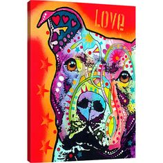 An eye-catching addition to your living room or master suite, this vibrant street art-inspired canvas print showcases a pitbull in a bold palette.