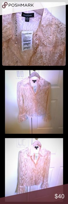 BEBE FLARE CUFF LACE BLOUSE Super delicate and feminine gorgeous blouse will be great on romantic special date. You will be a center of attention in this soft and fancy lace. This amazing blouse is a must to feel special. bebe Tops Blouses