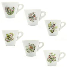 Song Birds Espresso Cups | Bring a little art to your morning routine. This set of song birds espresso cups will delight you, while the cup itself has been designed to serve up your espresso for maximum enjoyment! | //heavenlyhomecooking.com/shop/