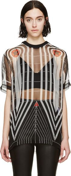 Givenchy Black Chiffon Stars & Stripes T-Shirt