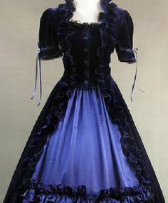 Blue Velvet Colonial Goth Formal Dress Clothing Wedding Dress on www.ueelly.com
