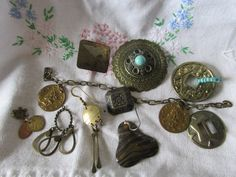 De-stash Lot Make Your Own Jewelry Hodge Podge Mix Single Earrings Pendant Brooch w/o Accent Stones Brass Bronze Turquoise Needs Cleaning by GrammiesCupboard on Etsy