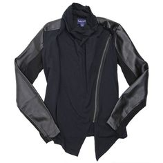 The moto jacket is back!!  Edgy and chic at the same time, the Black Drape Front jacket from Splendid is a great trendy piece for the fall.  Drapes beautifully when unzipped, and features faux leather on the sleeves.  Made in the USA