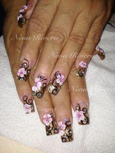 3D flowers nails
