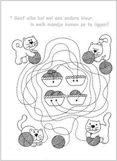 * Poezen met bolletjes wol... Preschool Writing, Preschool Worksheets, Color Activities, Preschool Activities, Dots And Boxes, Class Pet, Animal Crafts, Toddler Preschool, Drawing For Kids