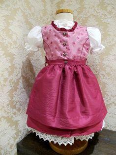 KIDSTRACHT Dirndl pink Blumen inkl. Bluse Gr 62 - 158 Kinderdirndl Babydirndl