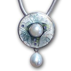 Cloisonné enamel with Pearls by Carolyn Delzoppo