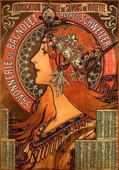 Calendrier de la Savonnerie de Bagnolet, lithographie de Mucha (1897)