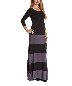 This Black & Charcoal Color Block Maxi Dress is perfect! #zulilyfinds