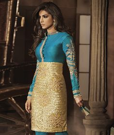 Give in to the exotic confluence of today and tomorrow in this beautiful attire. With vibrant colours and eclectic designs you will be ready to face the spotlight as you glide by in this absolutely elegant piece accenting the cotton feeling. It's time for you to be the center of attention once again.BRAND: IshyaCATEGORY: Unstitched Suit with DupattaARTICLECOLOURMATERIALLENGTHTopBlueArt Silk2.50 metersBottomBlueShantoon2.25 metersDupattaCreamChiffon2.25 metersWe would always want to send you…