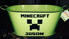 For a DIY Minecraft Easter Basket:  Personalized Metal Oval Easter Bucket with Handles by All Stickered Up @ Etsy