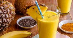 Le curcuma est une grande source de curcumine qui est anti-inflammatoire, antioxydante, anti-tumorale, antibactérienne et antivirale. Elle aide également à éliminer les carcinogènes alimentaires, àstimuler la détoxification du foie et à traiter la dépression. Recette de smoothie au curcuma: 1 tasse de lait de coco ou dechanvre 1/2 tasse de morceaux d'ananas ou de mangue …