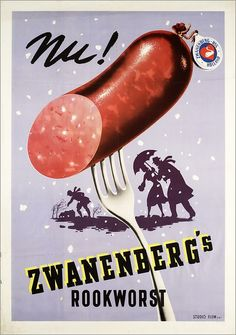 Nothing like good German fare! Vintage Advertising.....Rookworst♥1951