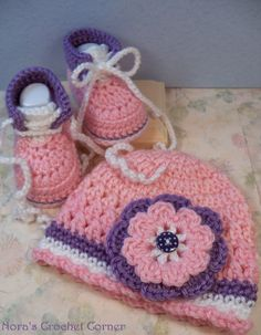 Baby Girl Crochet Hat and Shoes Pink and by NorasCrochetCorner, $24.00