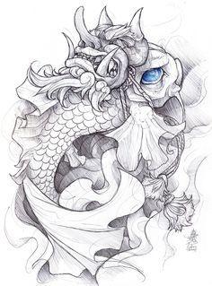 zumi: tattoo sketchbook: 012 by fydbac on DeviantArt Kunst Tattoos, Irezumi Tattoos, Body Art Tattoos, Sleeve Tattoos, Koi Fish Drawing, Koi Fish Tattoo, Fish Drawings, Hannya Samurai, Samurai Tattoo