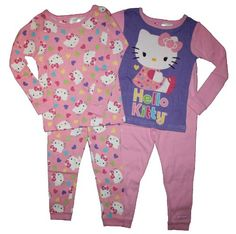 98fbd03e5 Hello Kitty Toddler Girls Set of 2 Cotton Pajamas Hello Kitty Clothes, Cat  Lover Gifts