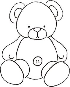 Teddy Bear ~ applique or let the kids color it Applique Templates, Applique Patterns, Applique Quilts, Applique Designs, Quilt Patterns, Teddy Bear Coloring Pages, Coloring Books, Quilt Baby, Teddy Bear Template