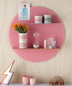 Try these fresh & modern DIY pegboard ideas! Pegboard organization and storage can be pretty, and be used in any room of the house! Decorating Your Home, Diy Home Decor, Room Decor, Display Shelves, Wall Shelves, Pink Shelves, Bedroom Shelves, Kitchen Shelves, Diy Kitchen