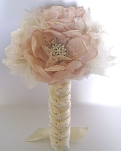 Bridesmaid Fabric Flower Wedding Bouquet  In Champagne and Ivory  with Faux Pearl Accents and Lace... Custom Made to Your Colors. $150.00, via Etsy.