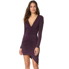 Young Fabulous & Broke Elyse Dress (290 BAM) ❤ liked on Polyvore featuring dresses, purple, purple long sleeve dress, jersey dress, v neck jersey, form fitted dresses and v-neck jersey