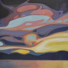 Erica Hawkes dramatic landscape paintings have a recognizable style with curved decorative lines inspired by natural forms and structures. Canadian Painters, Canadian Artists, Oil Painting Abstract, Yarn Painting, Impressionist Paintings, Western Art, Tree Art, Ink Art, Unique Art