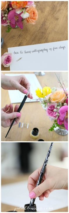 Learn calligraphy free, in your home with this calligraphy tutorial including step by step details & free printable exemplars! Calligraphy Tutorial, How To Write Calligraphy, Calligraphy Handwriting, Calligraphy Letters, Penmanship, Modern Calligraphy, Caligraphy, Zentangle, Banners