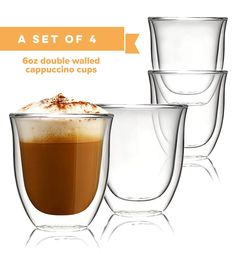 b01dc48210 Glass Cappuccino Cups Double Walled Coffee Glasses Set of 4 - Clear Thermo  Insulated Stackable Mugs