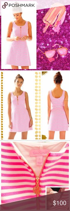 """Lilly Pulitzer Nicollette Fit & Flare Hotty Pink NWOT- Lilly Pulitzer, Nicollette Shift Dress in 'Hotty Pink'. The Nicollette Shift is a fit and flare striped dress with a zip front. Part feminine , part sporty, we love the shape and style of this dress. It's everything we love in one - plus it's SO flattering. Dress has never been worn, tags were removed as this was a gift. 18"""" From Natural Waist To Hem. Ottoman Stripe (67% Polyester, 32% Cotton, 1% Spandex). Machine Wash Cold, Delicate…"""