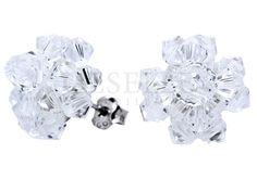 Lśniące kolczyki-śnieżynki z kryształów Swarovski ELEMENTS i srebra pr. 925