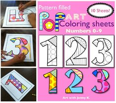 "Have fun with numbers using my ""Pop Art"" pattern-filled coloring sheets!"
