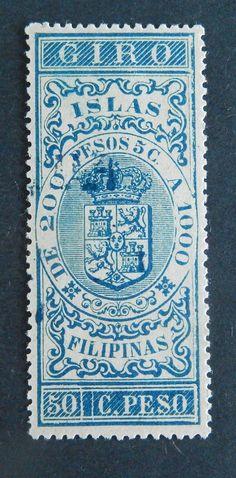Philippines Stamp Spanish Occupation Giro 50c de Peso Unused Original Gum | eBay